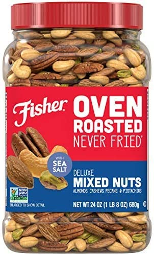 FISHER Snack Oven Roasted Never Fried Deluxe Mixed Nuts 24 Oz Almonds Cashews Pecans Pistachios product image
