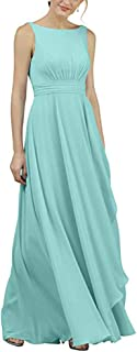 Botong A-Line Chiffon Bridesmaid Dress Scoop Neck Prom Evening Dresses Gown Maxi