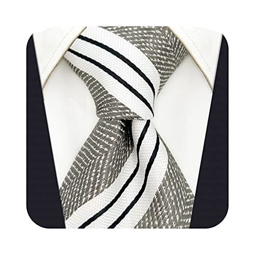 S&W SHLAX&WING Corbatas para hombre Conjunto de corbata gris Corbata extra larga de rayas blancas
