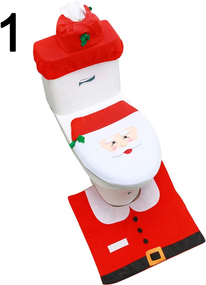 shlutesoy 3Pcs Set Christmas Deer Ranking TOP9 Toilet Tank Seat Bathroom Cove Very popular