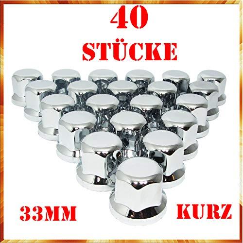 Tapacubos Easy Link de 40 x 33 mm, cromado, plástico SW33 KURZ para remolques de camiones