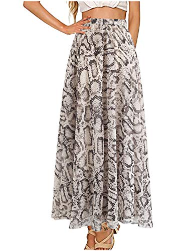 L'VOW Women's Elastic Leopard Print Watercolor Maxi Skirt High Waisted Dress Pleated Shirring (AC-White, M)