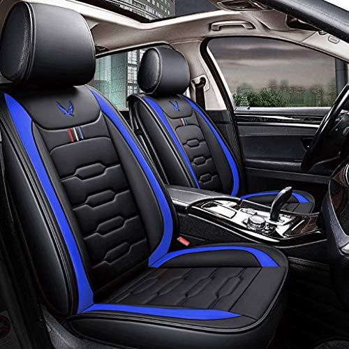 Housse de Sieges Auto Car Seat Covers, 5 Seat ensemble complet universel compatible Airbags frontaux arrière Respirant Confort Protecteur en cuir Coussin imperméable (Color : Blue)