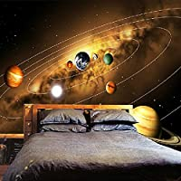 LHGBGBLN 3D粘着壁紙宇宙惑星リビングルーム寝室家の壁の装飾PVCステッカー防水油絵壁紙