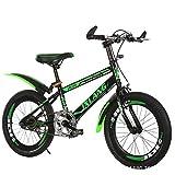 Bicicleta 22 Pulgadas para niños Bicicletas de 7-15 años Niños sin Ruedas auxiliares, Estilo: Básico de una Sola Velocidad Sunshine20 (Color : Black Green)