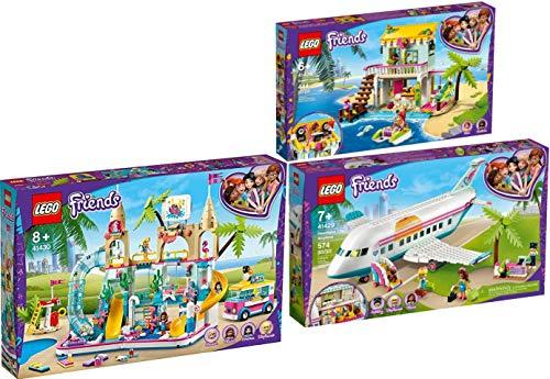 lego friends 41430 Lego® Friends 41428 41429 41430 - Casetta da spiaggia + aereo + parco d'acqua di Heartlake City