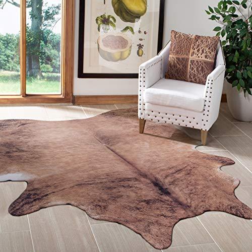 Taleta Teppich Rindsleder kuhfell kunstfell Rindslederteppich Wohnzimmer braun Größe: 155x190cm