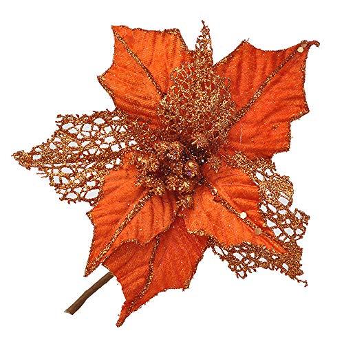 Riverbyland 6 Pcs Poinsettia Flower Christmas Tree Ornament Orange