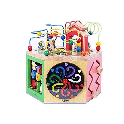 zeyujie Puzzle de Cuentas Redondo Tesoro de Seis Caras Juguete para niños 1-5 años de Edad Infantos Educación temprana Juego de Madera, Actividad de Madera Cubo 5 en 1 Centro, Laberinto de Cuentas Ro