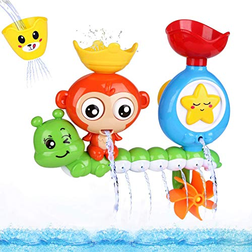 BBLIKE Baby Bath Toys, Bath Toys for 2, 3, 4+ Years Old Boys Girls Toddlers Kids Older Children, Monkey Water Toys Shower Toys Bathly Toy with Cup for Babies 18+ Mouths Gift Toy Set