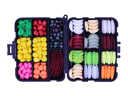OKVGO 360 Stück Box Sea Karp Angelzubehör Box mit künstlichen Kunstködern, Mais, Perlen, Wurmköder