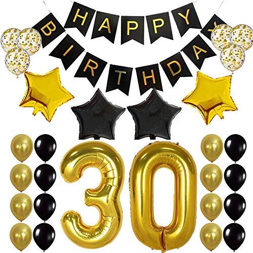 30ème Bon Anniversaire Ballons 30 Ans Anniversaire Deco 30th Birthday Decoration Anniversaire Ballon Helium Happy Birthday Bannière Noir Or Ballons pour Hommes Femmes 30 Ans Fete Anniversaire
