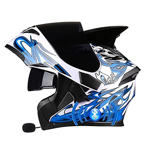 Letetexi Casco de Moto Bluetooth Integrado Flip Up Casco Moto Integral Modular Casco con Doble Visera Casco Motocross Motocicleta Casco Scooter Certificación ECE para Hombre Mujer 57~66cm