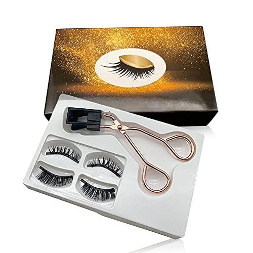 Magnetic Eyelashes Applicator Tool Kit Magnetic Eyelashes without Eyeliner Glue-free Magnetic Eyelash Clip with 2 Pairs Soft Magnetic False Eyelashes 1 Pack