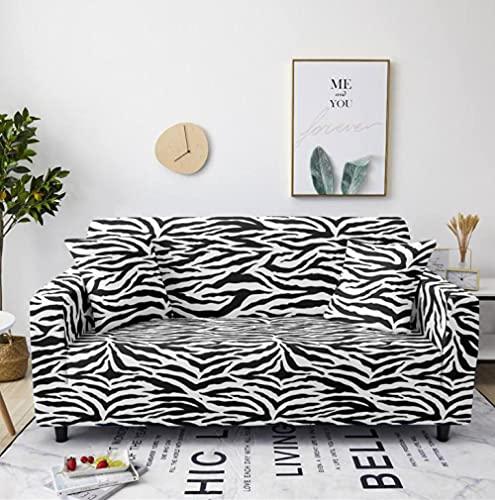 Rayas Blancas Negras Funda de sofá de 1 Plazas Funda Elástica para Sofá Poliéster Suave Sofá Funda sofá Antideslizante Protector Cubierta de Muebles Elástica