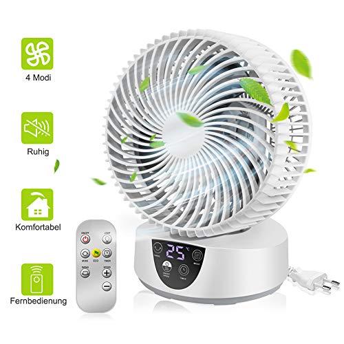 Guiseapue Tischventilator Luftzirkulation Ventilator,8 Zoll elektrischer Geräuschloser Lüfter mit verstellbarem Kopf,3 GeschwindigkeitenTouch-Taste-Bedienung, Raumventilato mit Fernbedienung