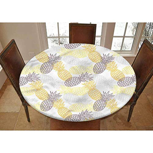 LCGGDB Fruits Elastic Edged Polyester Fitted Tablecolth -Exotic Pine Tropics- Large Round Fitted Table Cover - Fits Tables up to 45-56' Diameter,The Ultimate Protection for Your Table