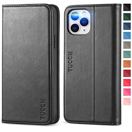 TUCCH Wallet Case for iPhone 12 Pro Max 5G, PU Leather Flip Folio Wallet Case with Card Slot, Kickstand, Book Design [Shockproof TPU Interior Case] Compatible with iPhone 12 Pro Max 6.7-inch, Black