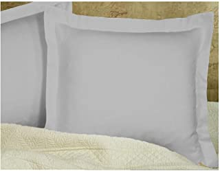 Silver Grey Pillow Shams Set of 2 - Luxury 580 Thread Count 100% Egyptian Cotton Cushion Cover Euro Size Decorative Pillow Cover Tailored Poplin European Pillow Sham (2 Pack, Euro 26x26)