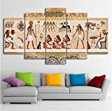 WxzXyubo HD Impreso 5 Piezas Lienzo Arte Pinturas de Pared imágenes egipcias Modular dinastía Antigua Cartel decoración del hogar 150 x 80 cm con Marco
