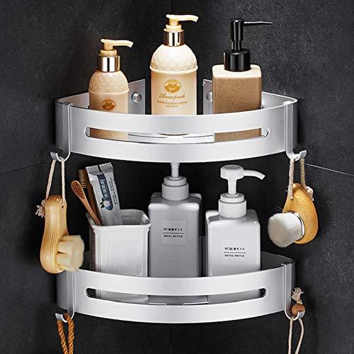 ENCOFT Duschregal Eckregal ohne Bohren Bad Duschwanne mit 4 Haken Duschkorb Raum Aluminium Wandregal für Bad Wc Küche (Silber, 2-Pack)