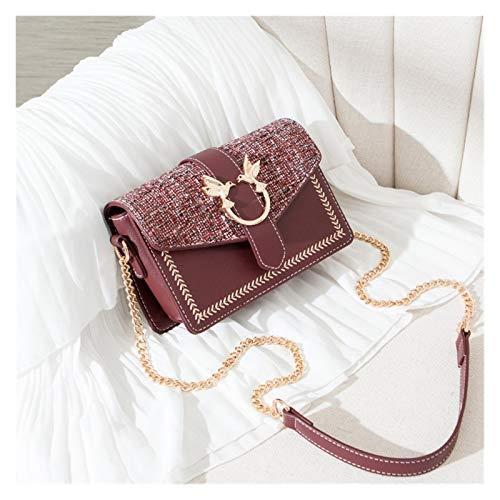 Youpin Bolsas de hombro con cadena de lujo para mujer, estilo vintage, con cremallera, bolso de solapa para mujer (color: vino rojo, tamaño: 20 cm x 14,5 cm x 8 cm)