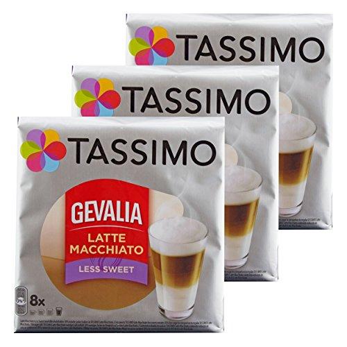 Tassimo Gevalia Latte Macchiato Less Sweet, Weniger Süß, Gemahlener Röstkaffee, Kaffeekapsel, 24 T-discs