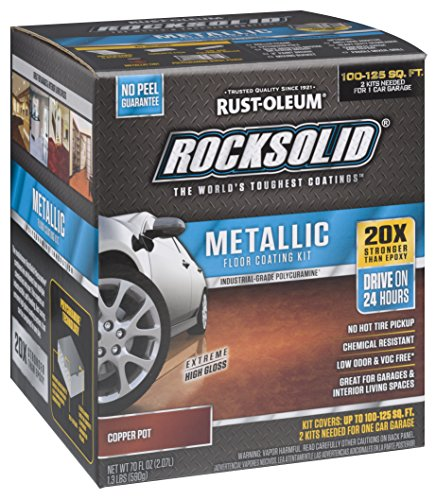 Rust-Oleum 286894 RockSolid Metallic Garage Floor Kit, 70 fl oz, Copper Pot, 70 Fl. Oz