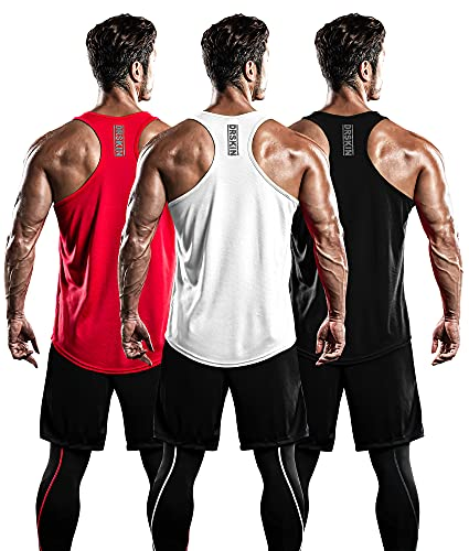 DRSKIN Men's 3 Pack Dry Fit Y-Back Muscle Tank Tops Mesh Sleeveless Gym Bodybuilding Training...