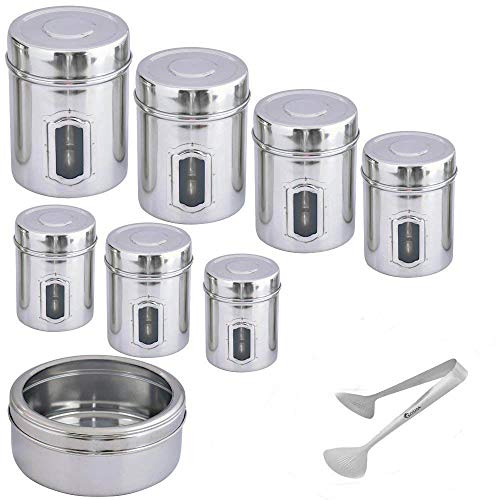 Kosma 8er Set Edelstahl Lagerung Behälter | Küche Storage Jar Set: Set beinhaltet 7 PC-Gehäuse mit seitlichen Siehe Thru Fenster, 1 Kuchenform mit Top siehe Thru Deckel und ein Geschenk 1 Kuchen Tong)