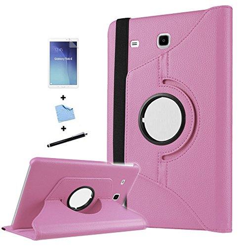 TIODIO 4 en 1 Case Cover Custodia per Samsung Galaxy Tab E 9.6-Inch SM-T560/SM-T561 Cover in Ecopelle con Meccanismo di Rotazione di 360° per Posizionamento Verticale ed Orizzontale del Tablet,Pellicola di Protezione e dello stilo Incluse, Rosa