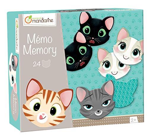 Avenue Mandarine JE505O Memory Domino (mit 24 Karten aus Karton, ideal für die Motorik Ihres Kindes, ab 2 Jahren geeignet) 1 Pack Katzengesichtern