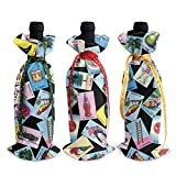Loteria Christmas Wine Bottle Tote Bags - 3pcs Red Wine Bags Gift for Party Hotel Kitchen Table Decor