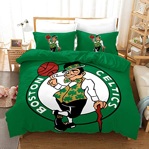Queen Size Celtics Duvet Cover Boston Basketball Bedding Sets for Kids Teen Boys Girls 1 Duvet Cover with 2 Pillowcases