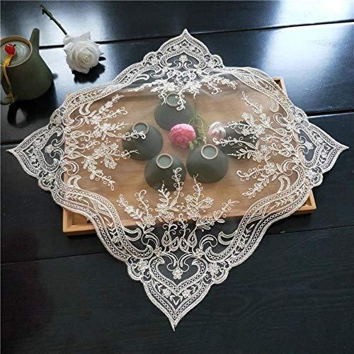 JIAYAN Cuadrado de 40 cm de Encaje Bordado Europeo de Tela de Cubierta Multiusos Bandeja de té de café Olla arrocera de microondas Alfombrilla de Mesa Universal para Polvo