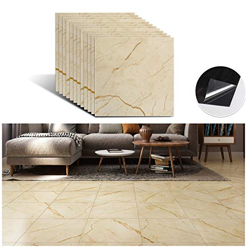 VEELIKE 12''x12'' Marble Vinyl Floor Tiles Peel and Stick Yellow Marble Flooring Tile Self Adhesive Waterproof Floor Sticker Tile Decorative Covering for Bathroom Bedroom Kitchen Wall Basement 12 Pack