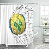 N\A Cortina de baño Tela de poliéster Impermeable San Vicente y Las Granadinas Bandera Balón de fútbol Red Interior en Blanco Juego de Ganchos 3D Baño Decorativo