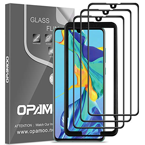 opamoo Full Screen Panzerglas für Huawei P30, [3 Stück] Schutzfolie für Huawei P30 Panzerglasfolie mit Positionierhilfe 9H Festigkeit Blasenfreie Anti-Kratzen Bildschirmschutzfolie für Huawei P30 Folie