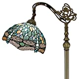 Tiffany Style Reading Floor Lamp W12H64 Inch Sea Blue Stained Glass Crystal Bead Dragonfly Lampshade Antique Lighting Arched Base S147 WERFACTORY Lamps Living Room Bedroom Coffee Table Lover Gifts