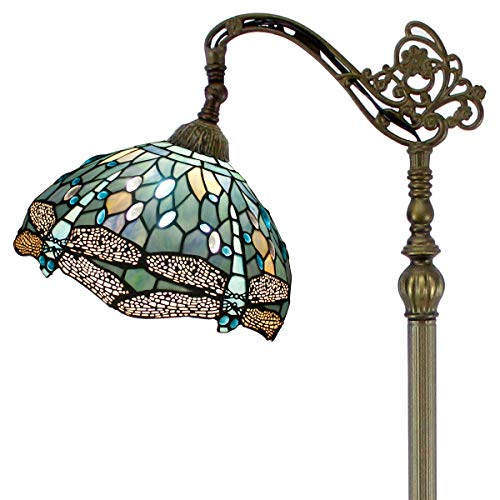 Tiffany Style Reading Floor Lamp W12H64 Inch 1E26 Crystal Bead Dragonfly Sea Blue Stained Glass Lampshade Antique Light Arched Base S147 Series Lamps WERFACTORY-Living Room Bedroom Coffee Table Gifts