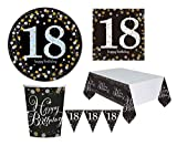 Zeus Party Kit Compleanno Anni 18/30/40/50/60 Oro e Nero con Piatti Grandi, tovaglia, tovaglioli Bicchieri e bandierine (per 20 Persone, 18 Anni)
