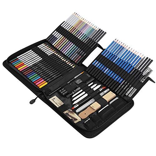 SHYOSUCCE 83 Stück Buntstifte und Skizzenstifte Set mit Organisierten Federmäppchen, Aquarell Bleistifte für Anfänger und Pro Künstler, Skizzieren, Schattieren und Färben
