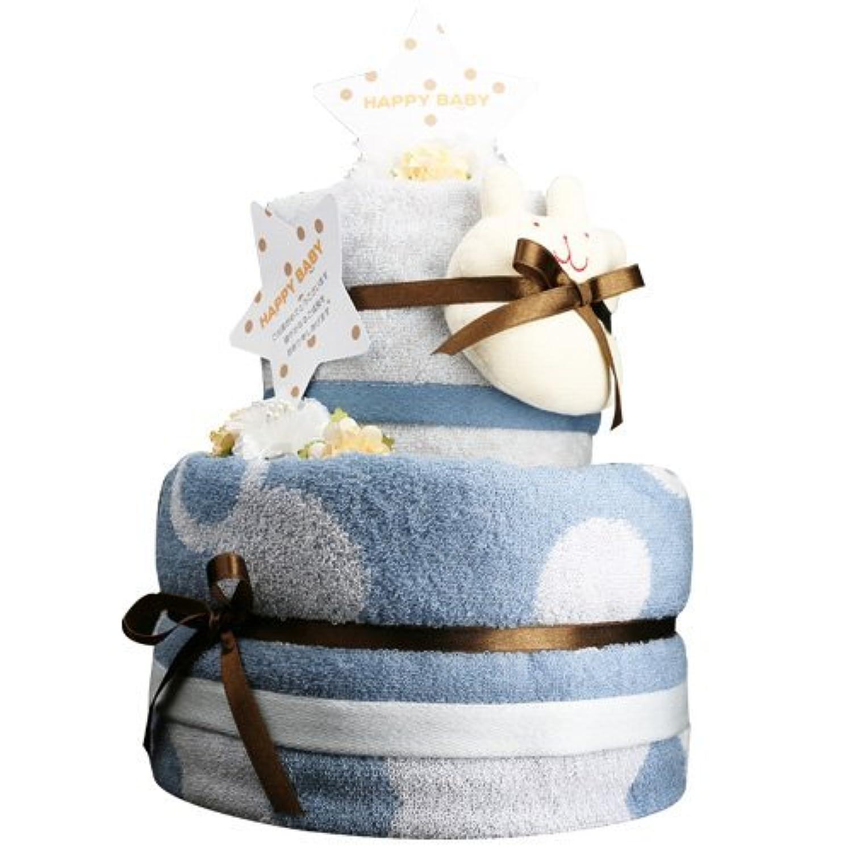 今治タオル おむつケーキ ウォッシュ&バスタオル付き 紋ごのみ(青) パンパースS わんこ [ 出産祝い 内祝い ] 日本製