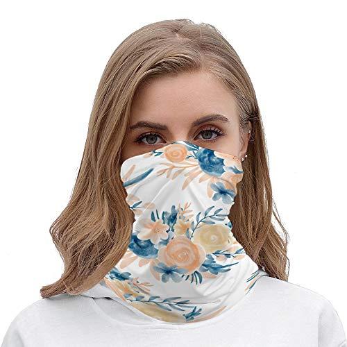 Modern Pastel Blue Coral Floral Leaf Unisex Multifunctional Bandana Neck Gaiter Tube Headwear headkerchief, Motorcycle Face Mask Bandana Headband for Women Men Face Scarf