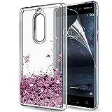 LeYi Coque Nokia 5 Liquide Paillette Etui avec Film de Protection écran HD, Fille...