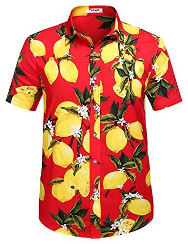 Tinkwell Herren Hawaii Hemd Kurzarm Hawaiihemd Hawaii T Shirt Aloha Party Shirt Palm Beach Shirts Geburtstagsgeschenk(Rot,L)