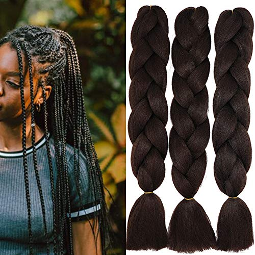 60cm Extension Treccine Treccia Africane Capelli Sintetici Finti Marrone Cioccolato Lunghi Intrecciare Jumbo Braids 3 Ciocche Crochet Twist Bellezza