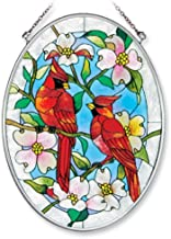 Amia 7559 Hand Painted Glass Suncatcher with Cardinal and Dogwood Design, 5-1/4-Inch by 7-Inch Oval