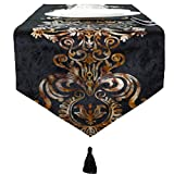 "RuaYsge Black and Gold Boho Ramadan White Lavender Table Runner Room Dining Contracted Classic Rustic Pack Lil Peep Tapestry, Decorative Scarfs Runner 72""Long Camino De Mesa Elegante mid Century"