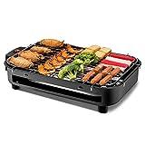 MUzoo Grill di Grill teppanyaki Senza Fumo con la griglia della griglia con la lastra Antiaderente a Doppia facciata, la griglia raclette Multifunzione a 8 Persone, Temperatura